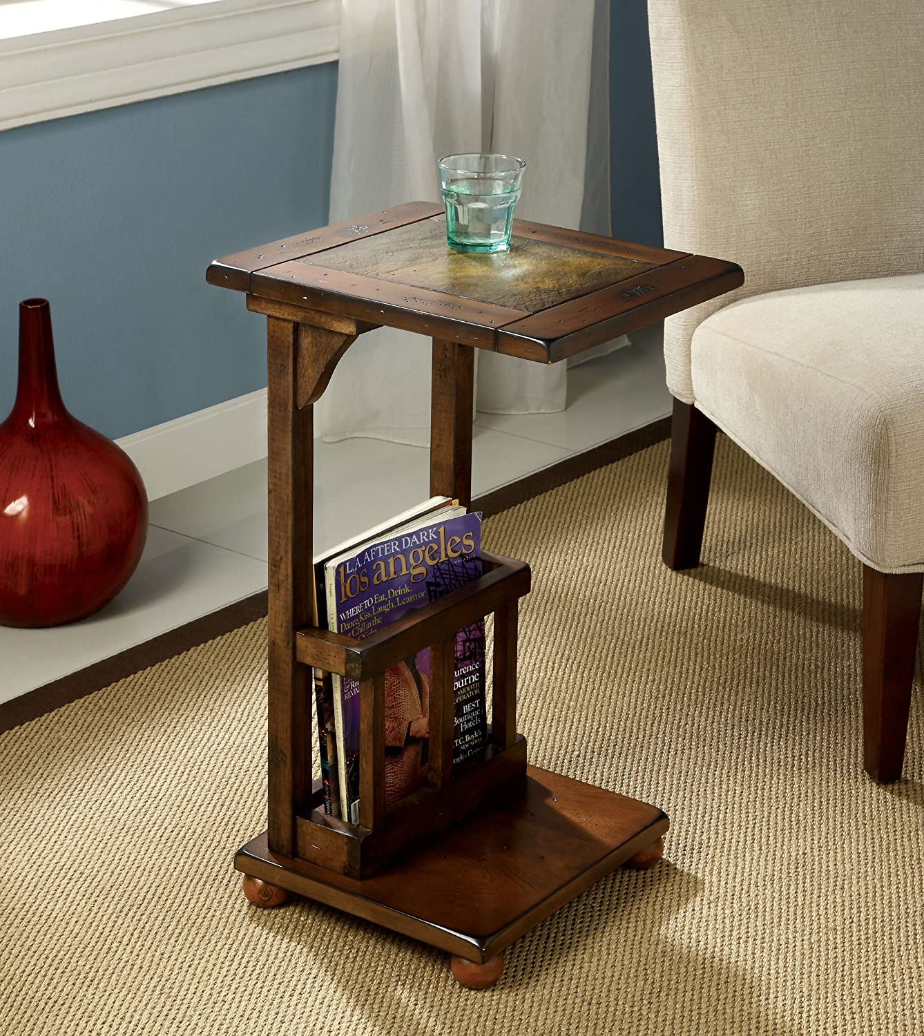 Amazon.com: Furniture Of America Ives End Table With Magazine Rack, Antique  Oak: Kitchen U0026 Dining
