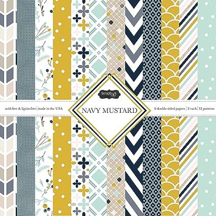 Amazon Scrapbook Customs Themed Paper Scrapbook Kit Navy Mustard