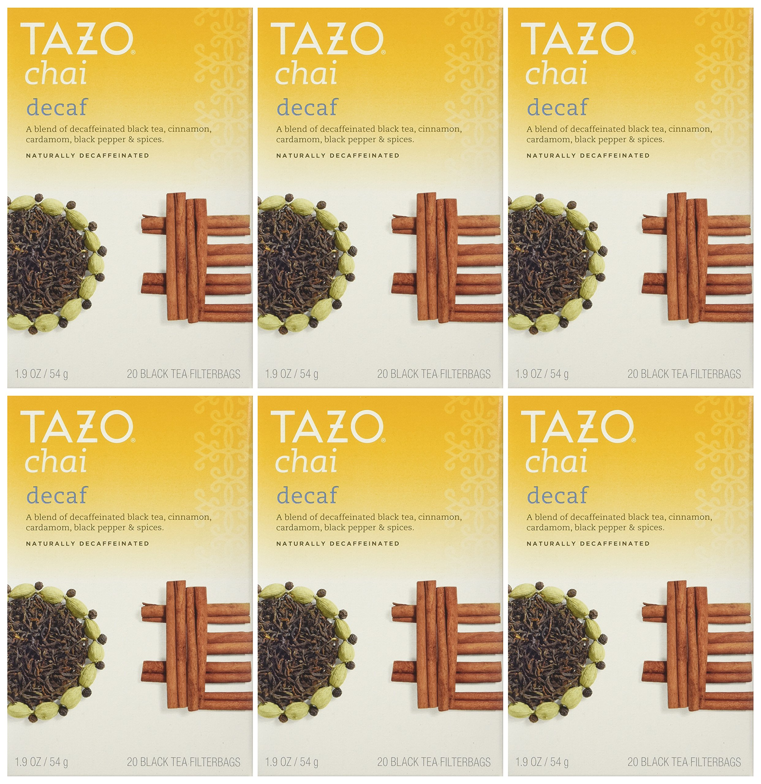 Tazo Decaf Chai, Spiced Black Tea, 20-Count Tea Bags (Pack of 6)