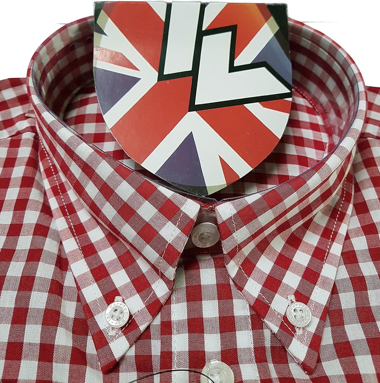 Warrior UK Men/´s Short Sleeve Retro Button-Down Shirt Gover Skin Mod Punk