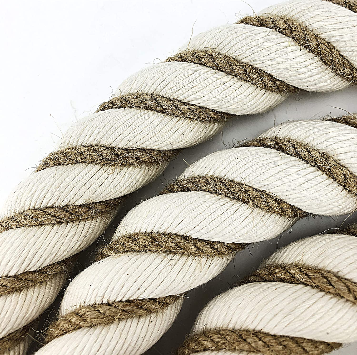 Natural Cotton Bannister Rope Wormed 32mm x 10 Foot c//w 4 Chrome Brackets