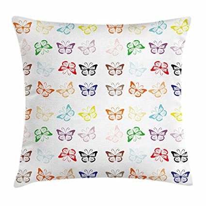 Amazon Com Lunarable Butterfly Throw Pillow Cushion Cover Animals
