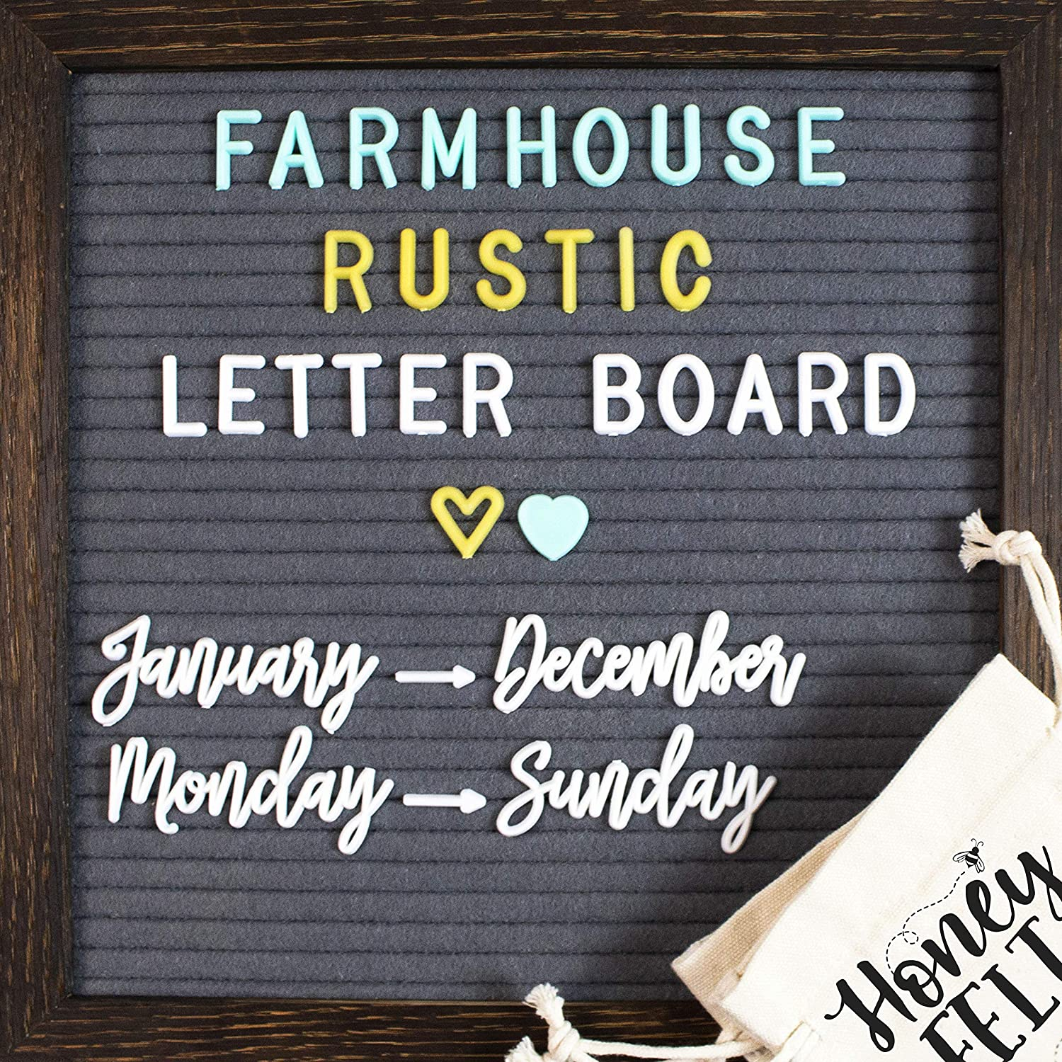 Rustic Wood Frame Gray Felt Letter Board 10x10. 723 Changeable White, Gold & Blue Letters. Months & Days Cursive Words, Symbols & Emojis. Attached Stand, 2 Letter Bags, Scissors. Farmhouse Wall Decor.