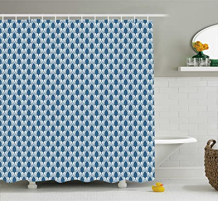 Retro Shower Curtain By Ambesonne Eastern Diagonal Pattern On Blue Background Old Fashioned Tile Ancient