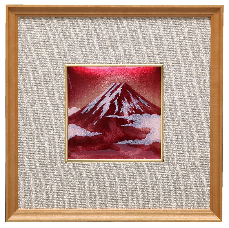 彩光舎 七宝焼き 飾皿 44 赤富士 103-16 B01NAWRLLB 約12×12cm|種類 : 飾り皿|赤富士 種類 : 飾り皿 約12×12cm