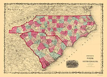 Amazon Com Old State Map North Carolina South Carolina Johnson