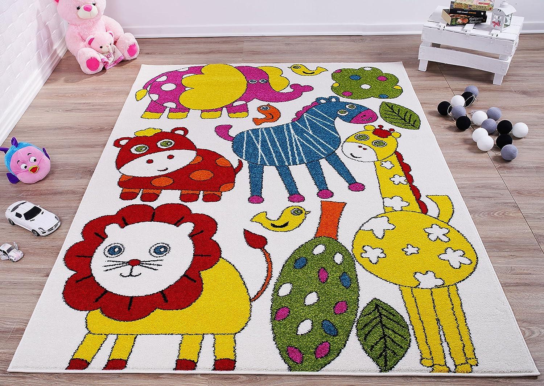 4x6 311 x 53 Ladole Rugs Cartoonish Style Animals Theme Made in Europe Indoor Kids Area Rug Carpet in Cream-Multi Cream//Multi 311 x 53, 120cm x 160cm 120cm x 160cm