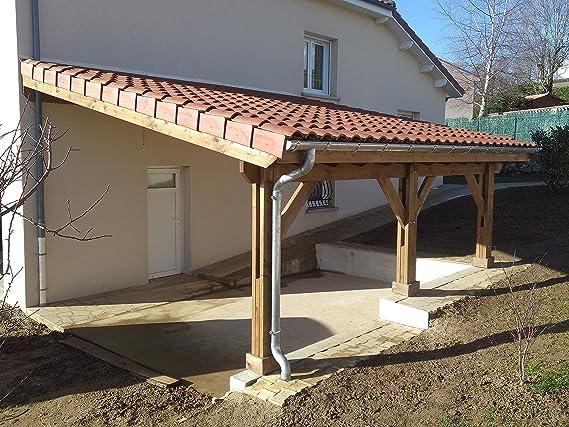 Pergola adosada de 690/400, 27 m2, calidad superior, montaje fácil, fabricante especialista en estructuras de madera 100 % de origen francés: Amazon.es: Jardín