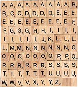 bsiribiz The 100 Scrabble Tiles Alphabet of The Wooden Scrabble Pieces for Word Scrabble Game Board of Education Games Craft Letters and Scrabble Tiles for Wall Decor and Other Wood Pieces for Crafts