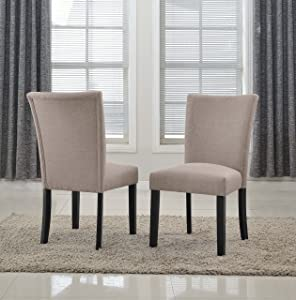 Container Furniture Direct C-077-BK Direct Sally Classic Upholstered Brown Fabric with Black Legs Dining Side Chair (Set of 2), Regular