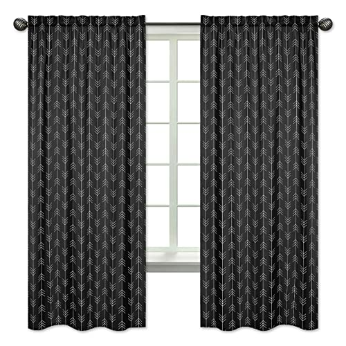 Black and White Woodland Arrow Window Treatment Panels Curtains for Rustic Patch Collection by Sweet Jojo Designs – Set of 2