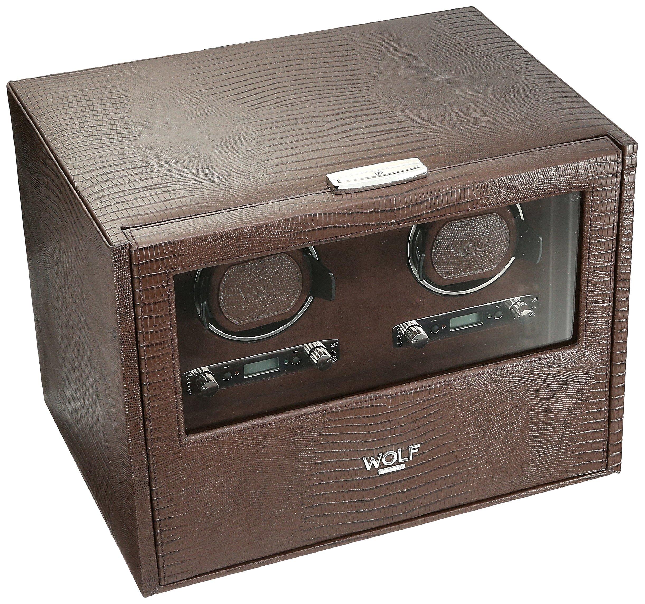 WOLF 460795 Blake Double Watch Winder with Storage, Brown