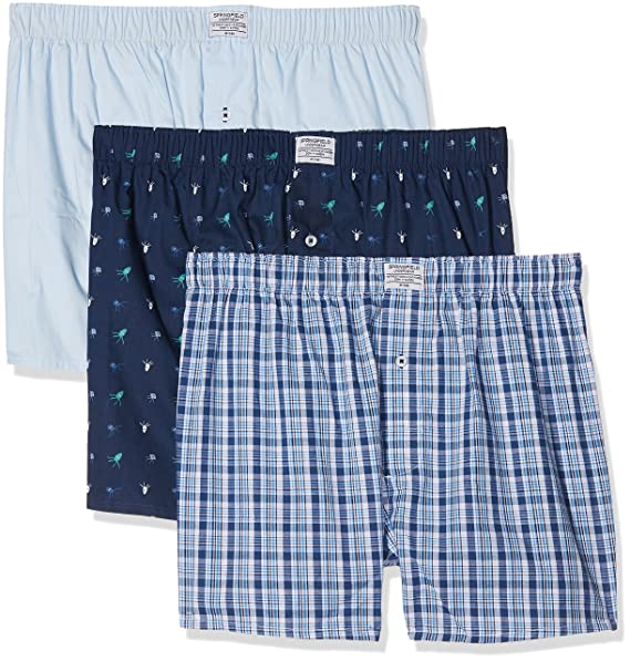 Springfield 1163396 Pack 3 Boxers Pulpos, Hombre, Azul (Gama azules), Large