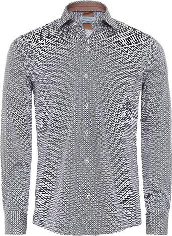 Guide London - Camisa para Hombre con Estampado geométrico, Ajuste elástico, Color Azul Marino: Amazon.es: Ropa y accesorios