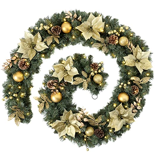 9 ft Extra-Thick Pre-Lit 80 LED Mixed Pine Garland with Cones and Berries