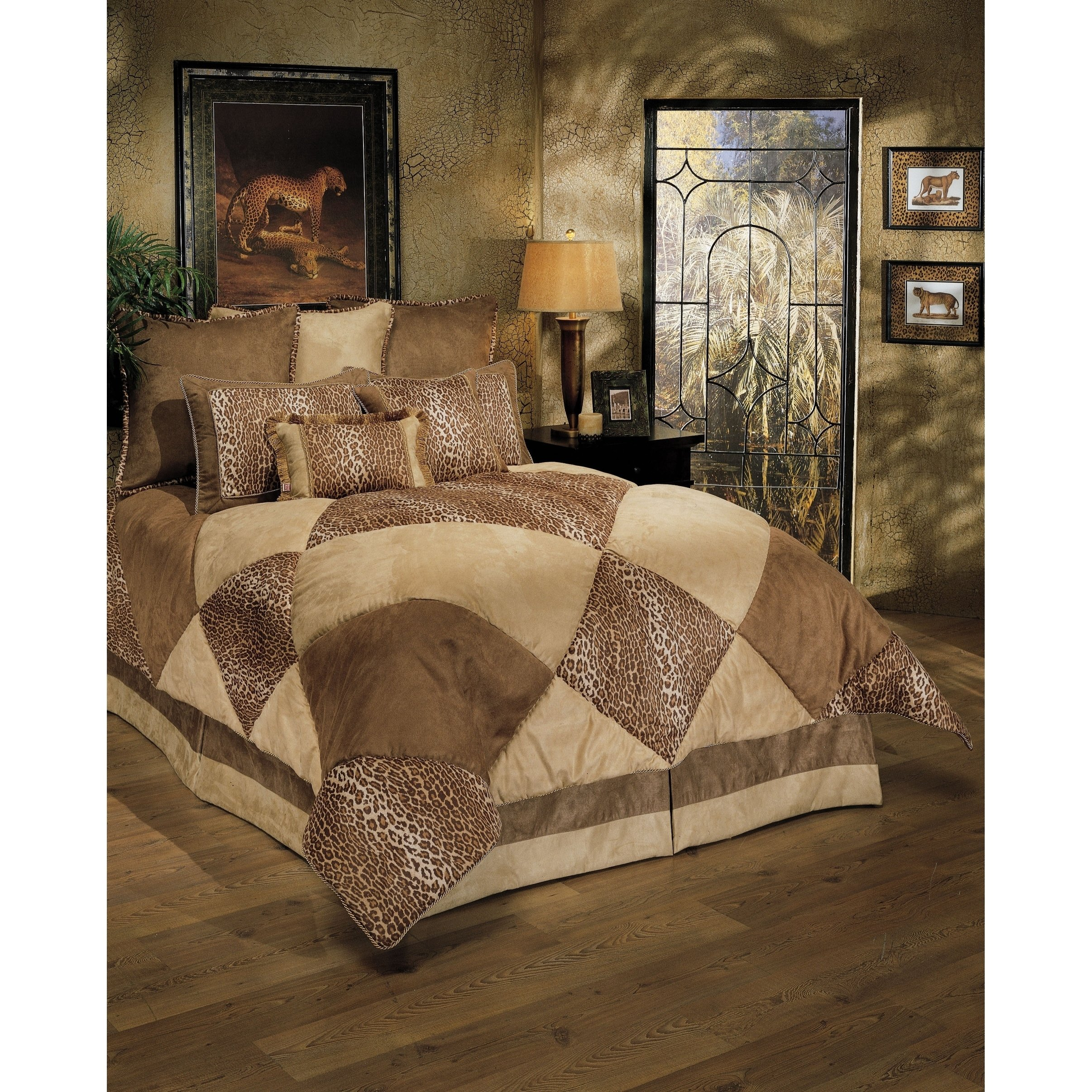 8 Piece Luxurious Safari Themed Comforter Set Cal King Size, Featuring Lush Geometric Diamonds Pattern Comfortable Bedding, Cheetah Animal Print, Unique Stylish Nature Inspired Bedroom Decoration, Tan
