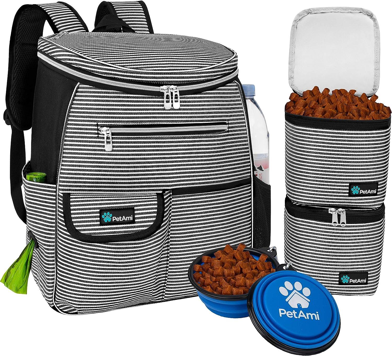 PetAmi Dog Travel Bag Backpack | Backpack Organizer with Poop Bag Dispenser, Multi-Function Pocket, Food Container Bag, Collapsible Bowl | Weekend Pet Travel Set for Hiking Overnight Camping Road Trip