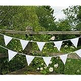 Flyingstart - Bandierine in tessuto doppio, lunghezza 10 m, per matrimoni, colore: Bianco