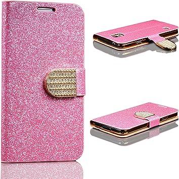 Urcover Funda Carcasa Protectora Brillante | Samsung Galaxy S5 | Estuche Soporte Wallet Case Purpurina en Rosa | Billetera Glitter Mujer: Amazon.es: Electrónica