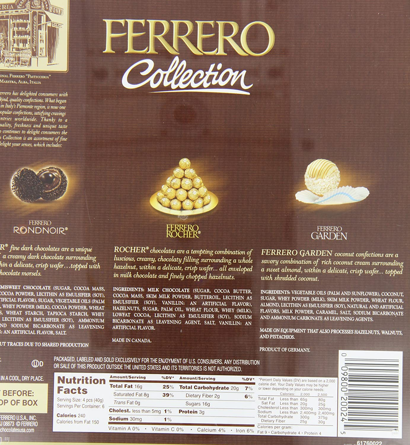 Ferrero Collection 18 Piece Gift Box 24 Count 88 Rocher T24 Coklat 24pcs Ounce 250 Gm Gourmet Candy Gifts Grocery Food