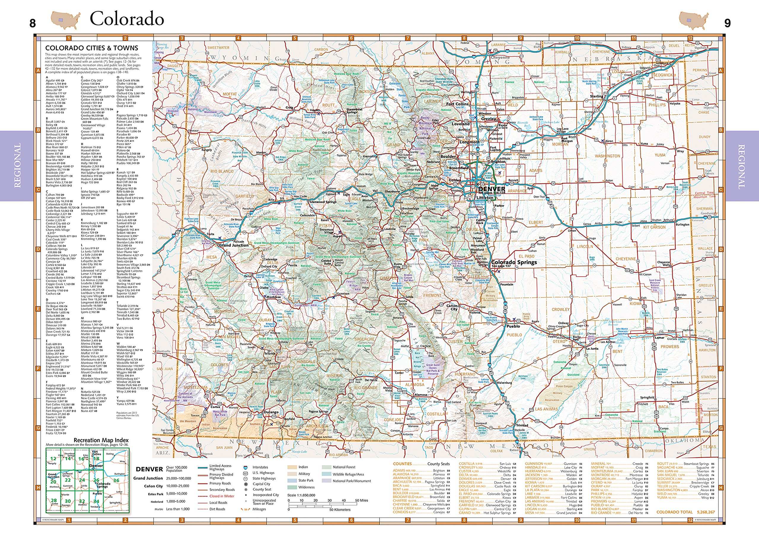 Colorado Benchmark Road Recreation Atlas Benchmark Maps - Maps of colorado cities