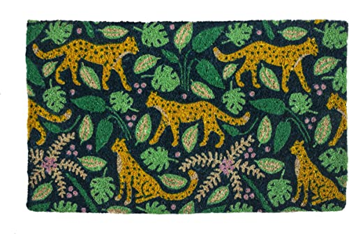 Entryways Leopards, Hand-Stenciled, Handwoven All-Natural Coconut Fiber Coir Doormat, 18 inches by 30 inches by .75 inches
