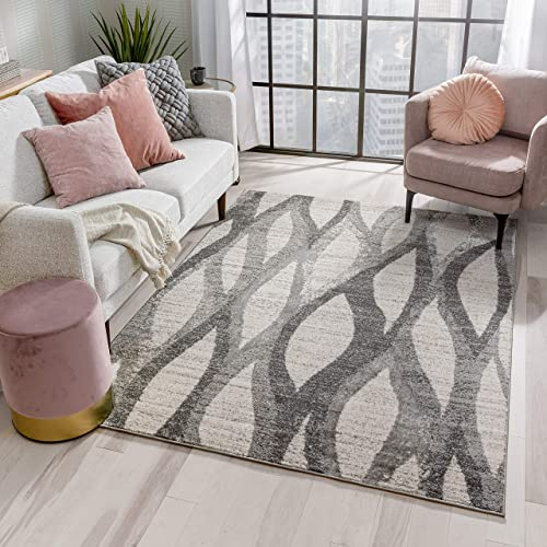 Well Woven Pamplona Ivory Grey Wavy Lines Abstract Geometric Pattern Area Rug 8×10 7'10″ x 9'10″