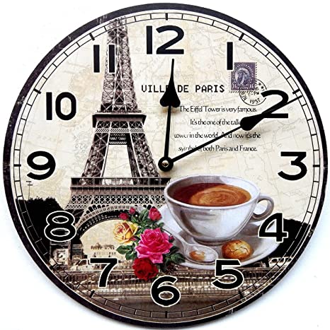 Tinas Collection - Reloj de pared para cocina (30 cm), diseño de taza