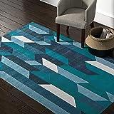 Amazon Brand – Rivet Geometric Color Blocking Rug, 5' x 8', Blue