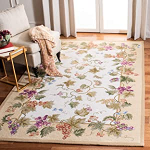 Safavieh Chelsea Collection HK116A Hand-Hooked Ivory Premium Wool Area Rug (5'3