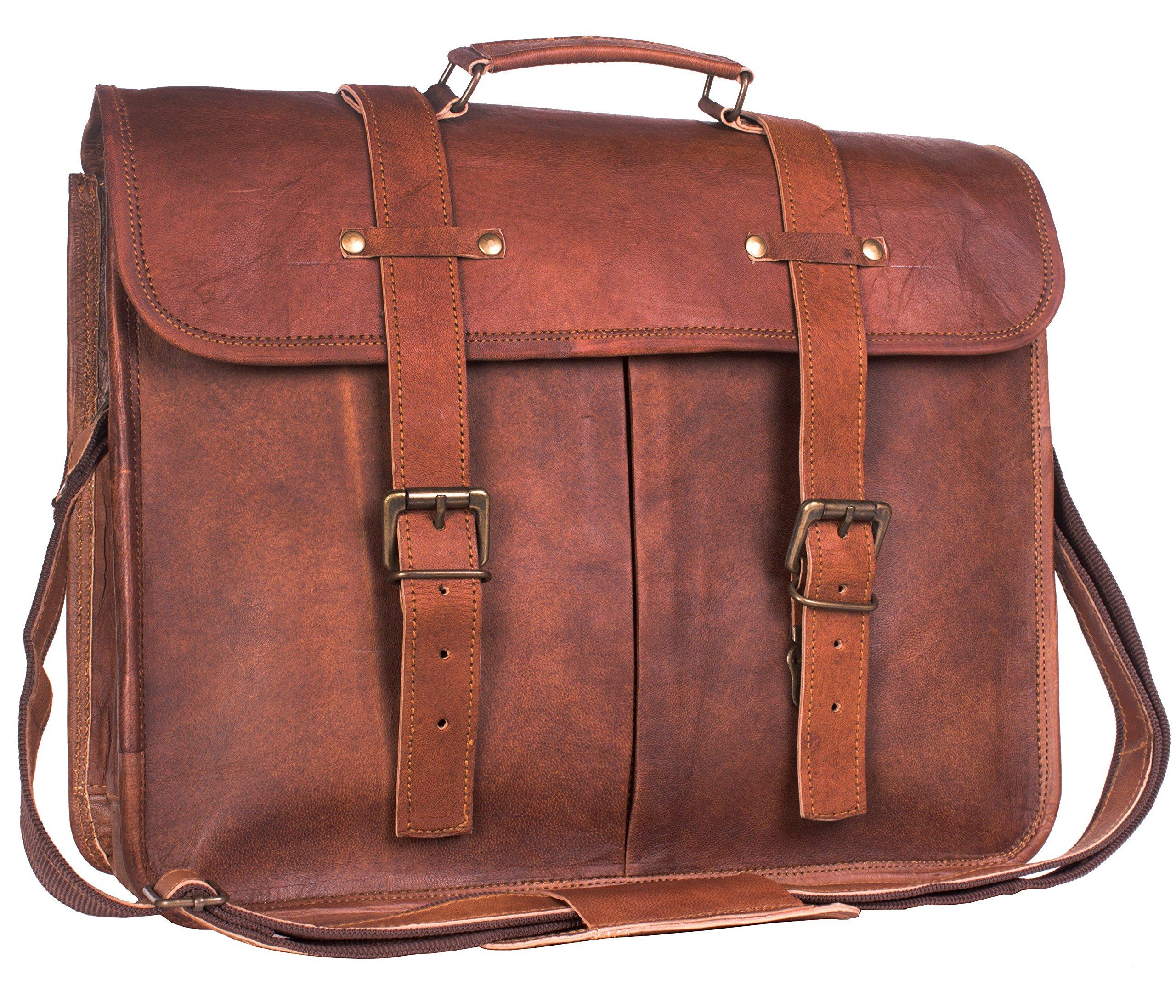Jodhpuria Leather Satchel Bag for Men - 15.5 Inch Mens Leather Laptop Messenger Briefcase Bags - Genuine Leather