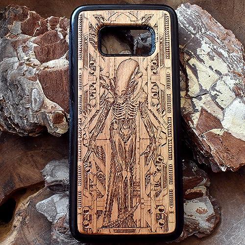 46b03622672 Galaxy S9 Plus, S8, S6, S7 Edge, iPhone 7 8 6S X XR XS Max, Note 9/8, Funda  dura de madera de cerezo para Apple y ...