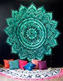 Mandala Tapestry Hippie Wall Hanging, Indian Ombre Bohemian Bedding Bedspread Set for Bedroom, College Dorm Room Boho Wall Art Decor or Home Blanket, Queen Size Green Tie Dye Lotus Mandala Tapestry