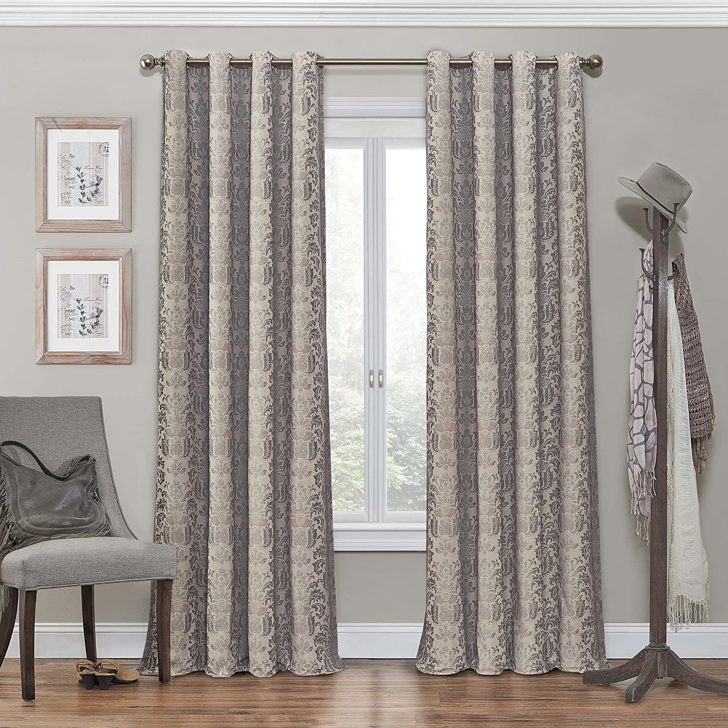 "Eclipse Nadya Print Thermal Insulated Single Panel Grommet Top Darkening Curtains for Living Room, 52"" x 84"", Linen"