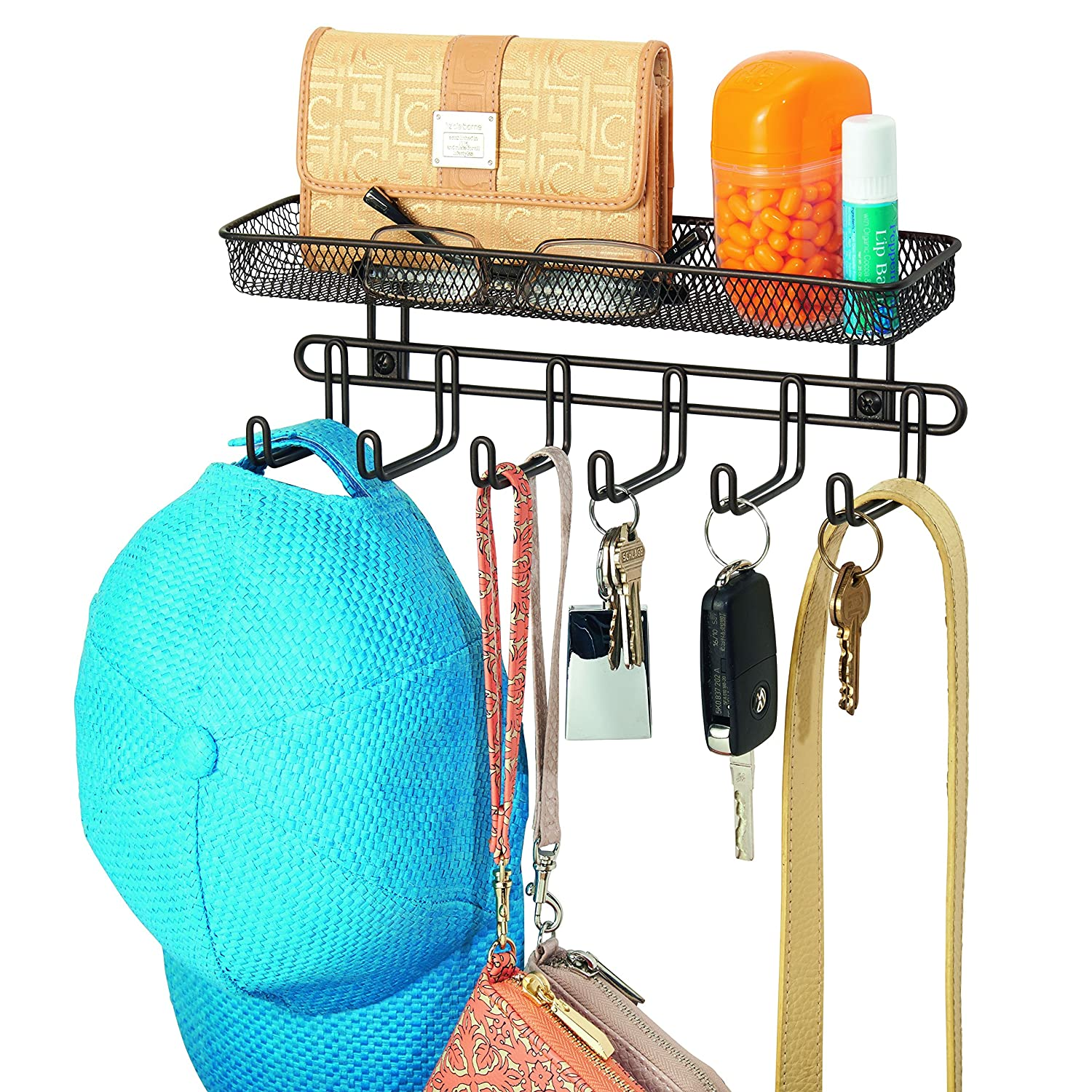 InterDesign Classico Wall Mount Entryway Organizer for Keys, Hats, Wallets, Clutch Purses, Cell Phones, Sunglasses - 11