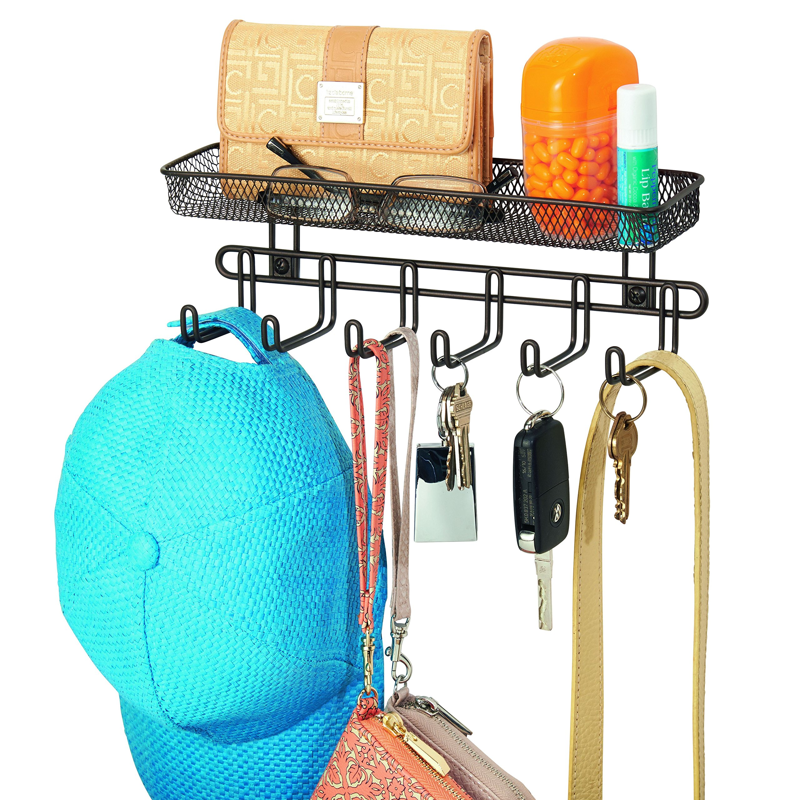 InterDesign Classico Wall Mount Entryway Organizer for Keys, Hats, Wallets, Clutch Purses, Cell Phones, Sunglasses - 11'', Bronze