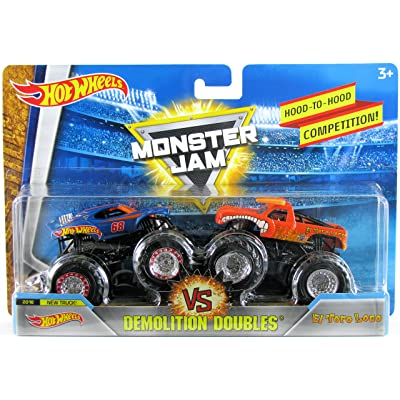 Hot Wheels Monster Jam 1:64 Demolition Doubles 2020 Team Hot Wheels 50th Anniversary New Truck vs El Toro Loco (Orange): Toys & Games