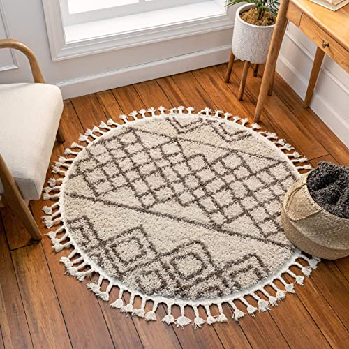 Well Woven Layla Shag Ivory Moroccan Trellis Area Rug 4 Round 3 11