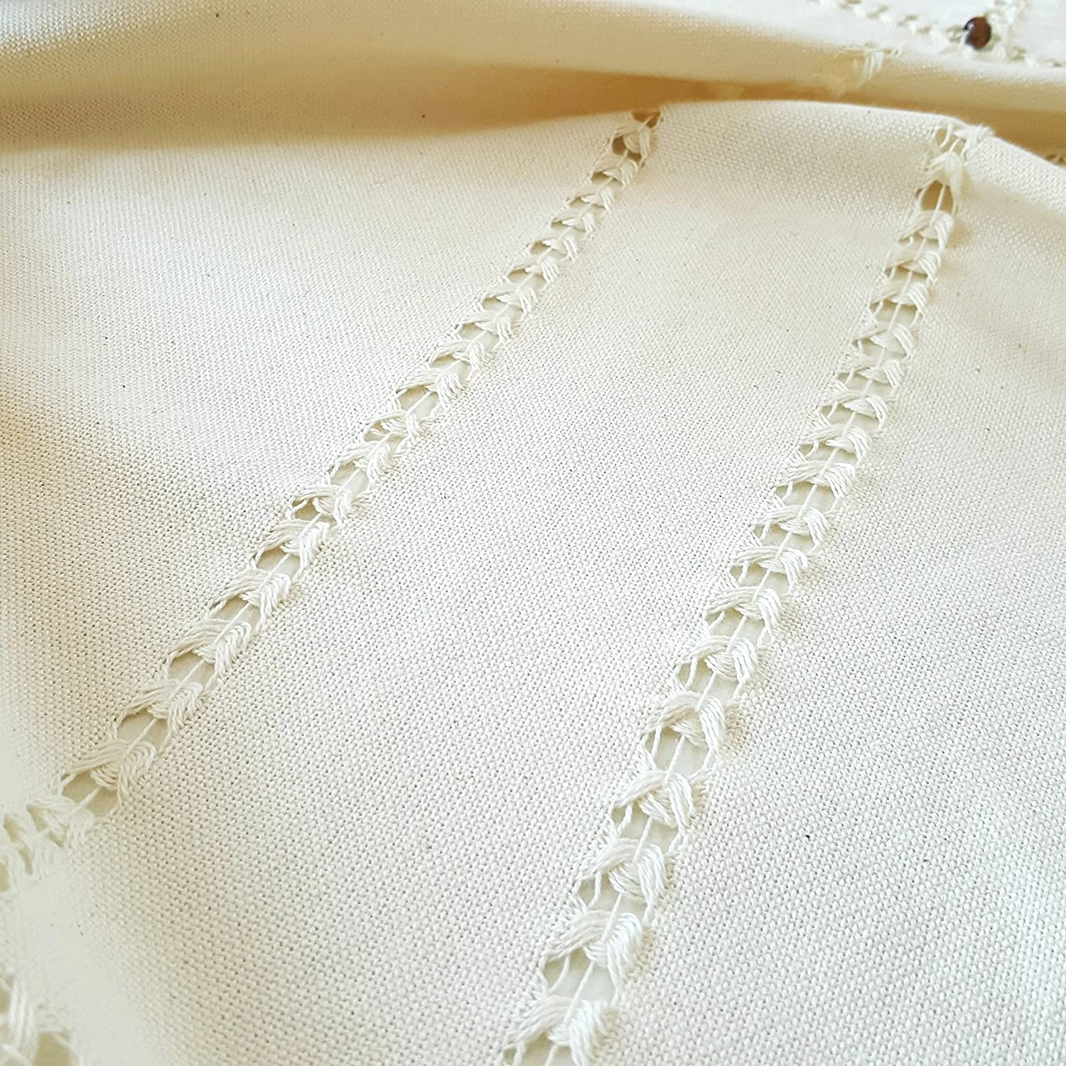 Decorated with Blue Beads and Tassels 36 x 36 Handmade 36 x 36 Secret Sea Collection 100/% Natural Cotton Color: Solid Beige Traditional Small Tablecloth,