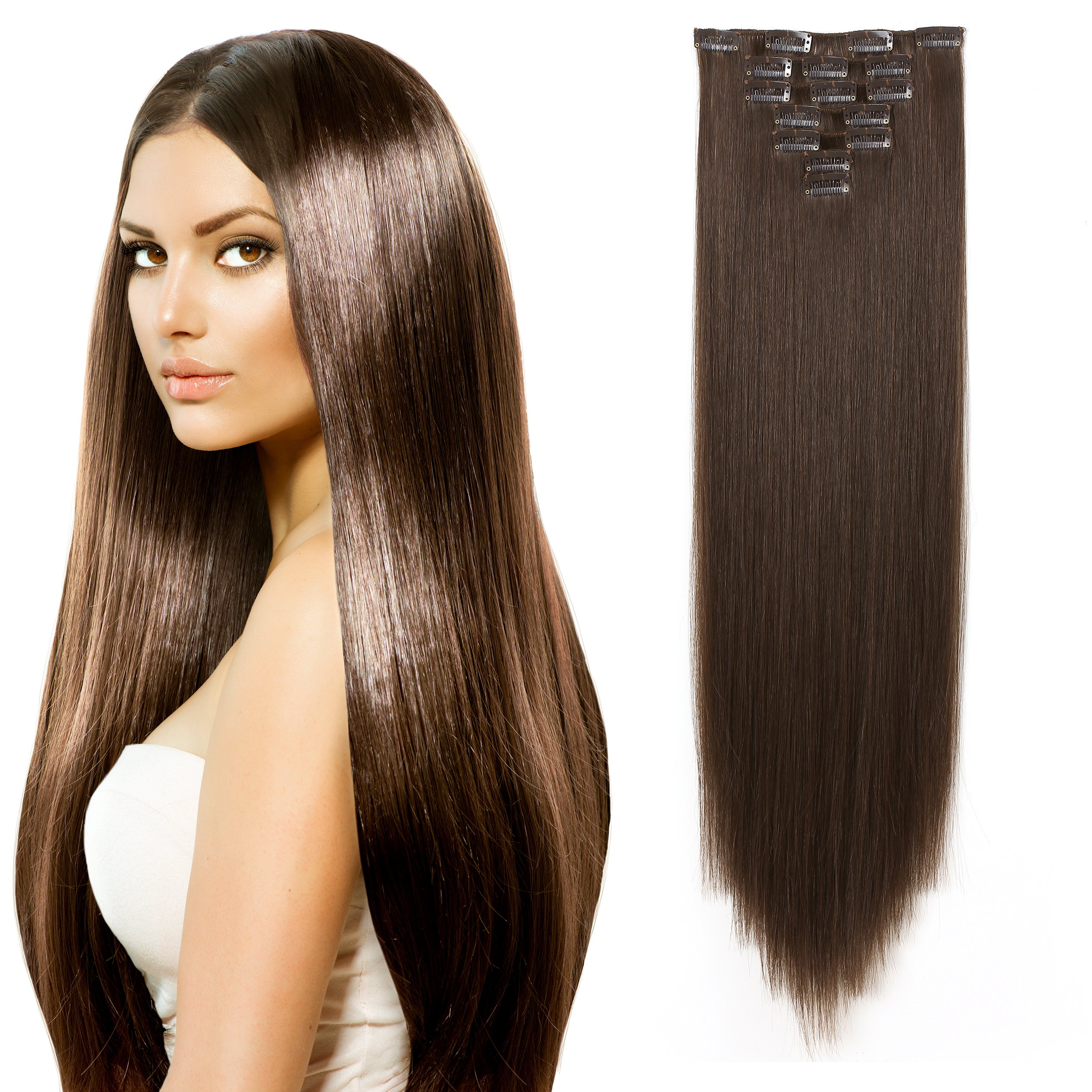 "OneDor 24"" Straight Full Head Kanekalon Futura Heat Resistance Hair Extensions Clip on in Hairpieces 7pcs 140g (Straight 8#-Light Chestnut Brown)"