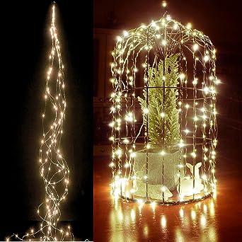 LED Lichterkette mit 200 LED Lichterbündel Draht warmweiß biegsam ...