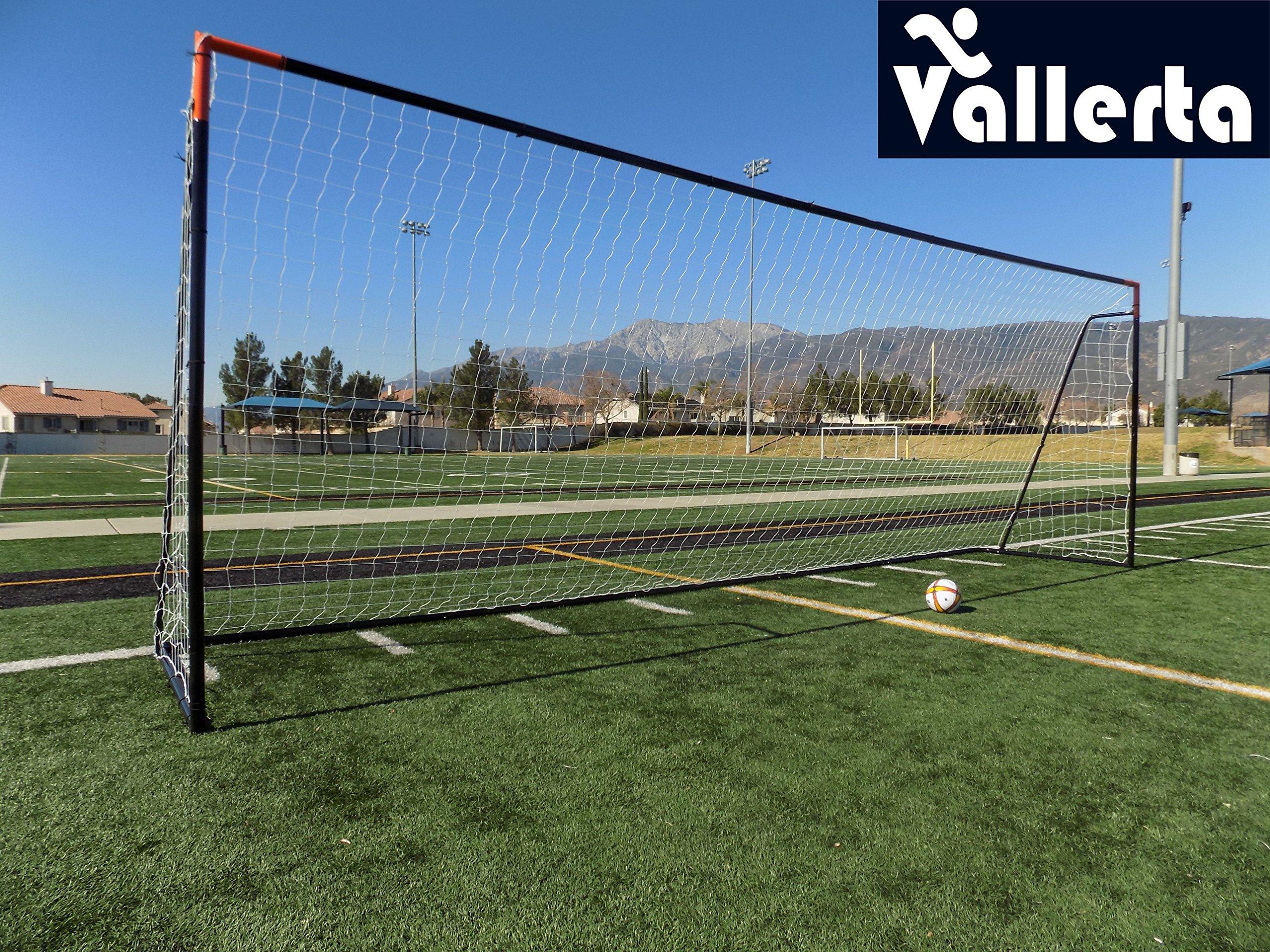 Vallerta 24 x 8 Ft.Regulation Size Soccer Goal w/Weatherproof HDPE Net. 50MM Diameter Industrial Grade Blk/Org Powder Coated Galvanized Steel. Portable 8x24 Foot Training Aid(1Net) ONE Year Warranty!
