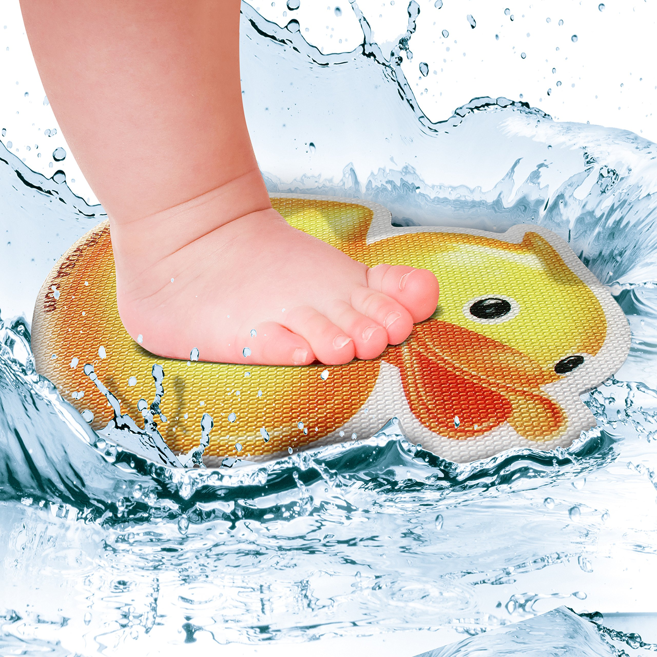 SlipRx USA Nonslip Bathtub Or Shower Stickers Safety Adhesive Duck | Non-Toxic, Anti-Bacterial, Mold and Mildew Resistant, Antislip Surface Area-6'' Diameter Mat | Rubber Ducky