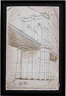Amazon deco 79 blueprint style art with iconic world bridges stone beam modern print of brooklyn bridge sketch black frame malvernweather Gallery