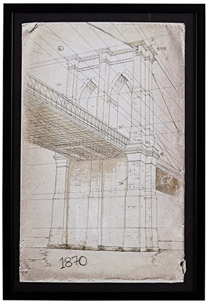 Amazon.com: Modern Print of Brooklyn Bridge Sketch, Black Frame, 18 ...