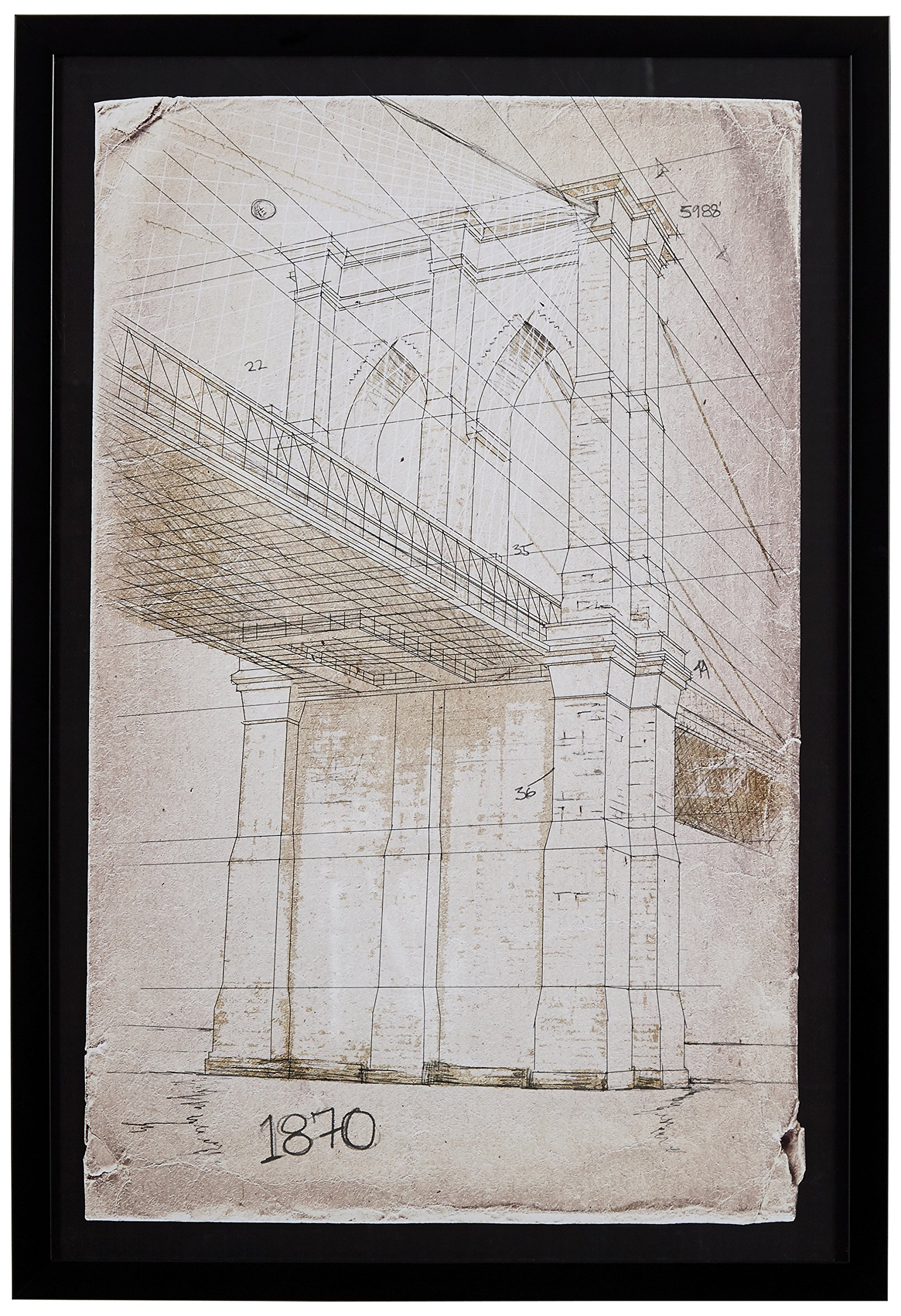 Modern Print of Brooklyn Bridge Sketch, Black Frame, 18'' x 26'' by Stone & Beam
