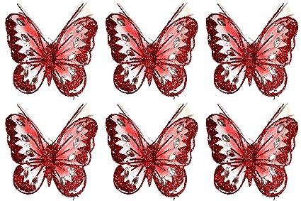 Set Of 6 Clip On Jewelled Glitter Mesh Decorative Butterflies 8cm