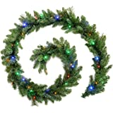 WeRChristmas Pre-Lit Garland Christmas Decoration Illuminated with 40 Multi-Colour LED Lights, 9 feet - Green