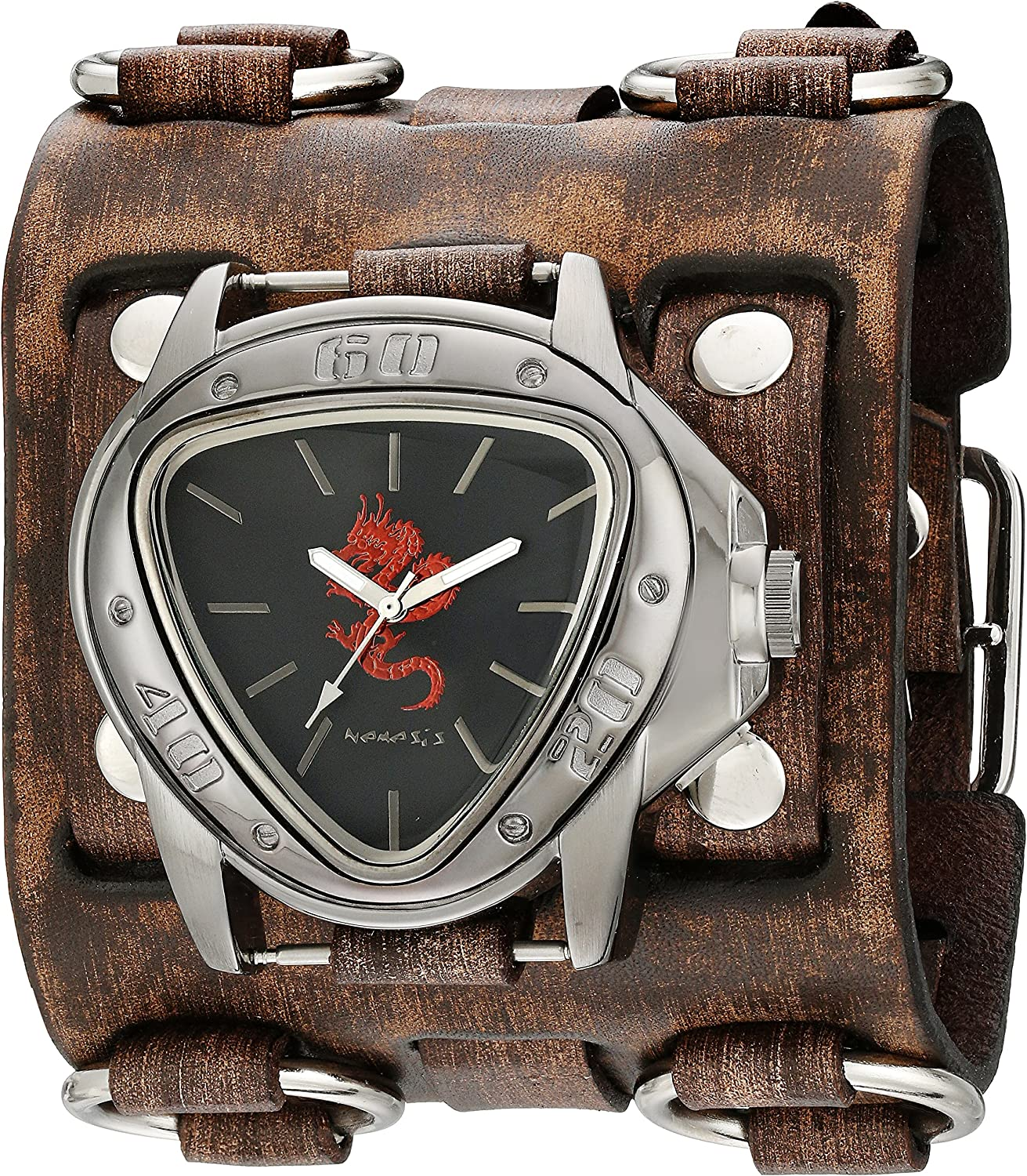 Nemesis Men s Red Dragon Series Brown Faded Wide Detail Leather Cuff Analog Display Japanese Quartz Watch