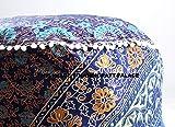 Indian Handmade Cotton Pouf Cover Floral Mandala